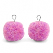 Pompom charms with loop 15mm Mix Lilac Purple-Silver
