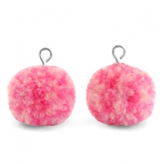 Pompom charms with loop 15mm Mix Pink-Silver