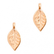 DQ European metal charms leaf Rose Gold (nickel free)