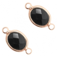 Crystal glass connectors oval 10x9mm Black opaque-Rose Gold