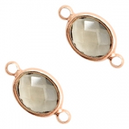 Crystal glass connectors oval 10x9mm Black Diamond crystal-Rose Gold