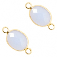 Crystal glass connectors oval 10x9mm Air Blue opal-Gold