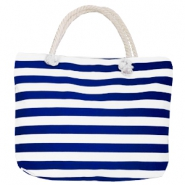 Fashion Beach bag stripe White-Dark Blue