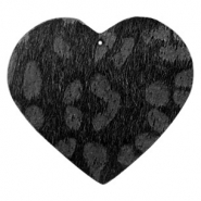 Hairy faux leather pendant heart with leopard print Black Anthracite