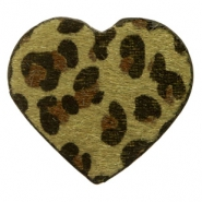 Hairy faux leather pendant heart with leopard print Dark Olive Green