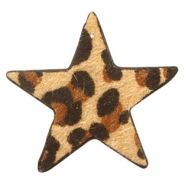 Hairy faux leather pendant star with leopard print Camel Brown