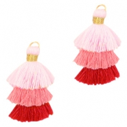 Tassels 3-layer 3.2cm Gold-Multicolour Pink
