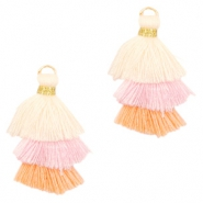 Tassels 3-layer 3.2cm Gold-Muslticolour Pastel Pink