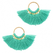 Tassels charm Gold-Turquoise