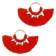 Tassels charm Silver-Red