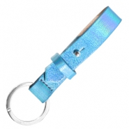 Cuoio key chain 15mm Holographic Blue