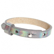 Leather Cuoio kids bracelet 8mm for 12mm cabochon Holographic Anthracite