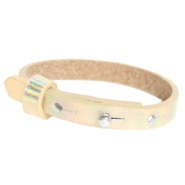 Leather Cuoio kids bracelet 8mm for 12mm cabochon Holographic Champagne