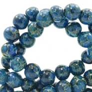 8 mm glass beads stone look Admiral Blue-Green