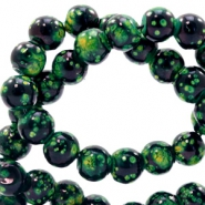 8 mm glass beads stone look Classic Green-Black