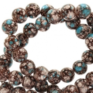 8 mm glass beads stone look Brown-Turquoise White