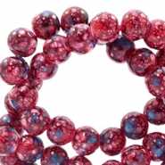 8 mm glass beads stone look Dark Red-Turquoise