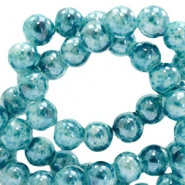 8 mm glass beads marbled Ocean Blue