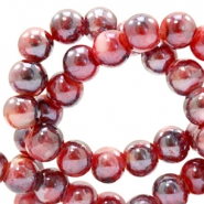 8 mm glass beads marbled Port Red-Blue