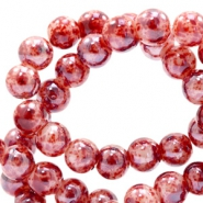 8 mm glass beads marbled Red