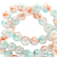 8 mm glass beads marbled Coral-White Blue