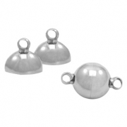 Stainless Steel findings magnetic clasp ball 12mm Antique Silver