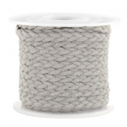Trendy flat cord braided suede style 5mm Grey