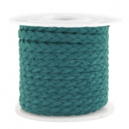 Trendy flat cord braided suede style 5mm Petrol Green