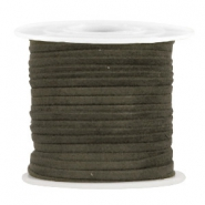 Trendy flat cord suede style 3mm 3mm Dark Olive Green