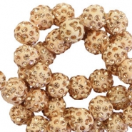 Rhinestone beads 8mm Camel Brown