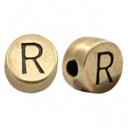 DQ European metal letter beads R Antique Bronze (nickel free)