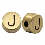 DQ European metal letter beads J Antique Bronze (nickel free)