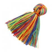 Tassels basic 2cm Multicolour Rainbow Yellow Green