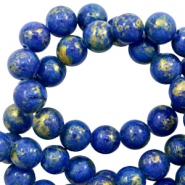 4 mm natural stone beads round jade Gold-Princess Blue