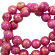 8 mm natural stone beads round jade Gold-Fuchsia Pink