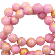 4 mm natural stone beads round jade Gold-Lilac Pink