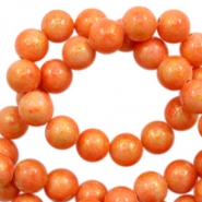 8 mm natural stone beads round jade Gold-Tangerine Orange