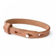 Leather Cuoio kids bracelet 8mm for 12mm cabochon Auburn Brown