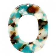 Resin pedants oval 48X39mm Turquoise-Brown
