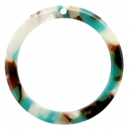 Resin pedants 35mm round Turquoise-Brown