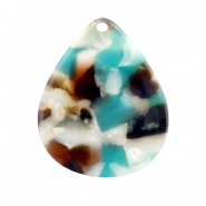 Resin pedants 29X24mm Turquoise-Brown