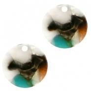 Resin pedants 12mm round Turquoise-Brown
