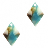 Resin pedants 15x10mm rhombus Turquoise-Brown