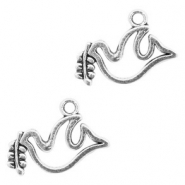 Metal charms pigeon Antique Silver