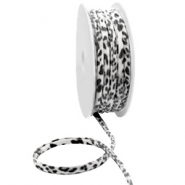 Stitched Elastic Ibiza Ribbon Black White Leopard