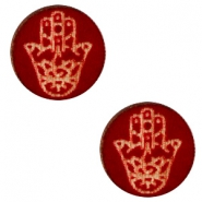 Wooden cabochon Hamsa hand 12mm Dark Red