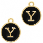 Metal charms letter Y Gold(a little bit more Rose)-Black