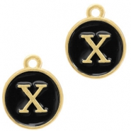 Metal charms letter X Gold-Black