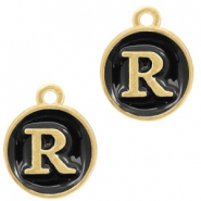Metal charms letter R Gold-Black