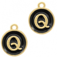 Metal charms letter Q Gold(a little bit more Rose)-Black